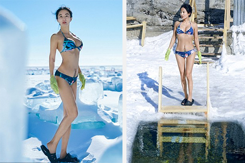 Chị còn thử sức bơi lội và lặn dưới bề mặt băng.