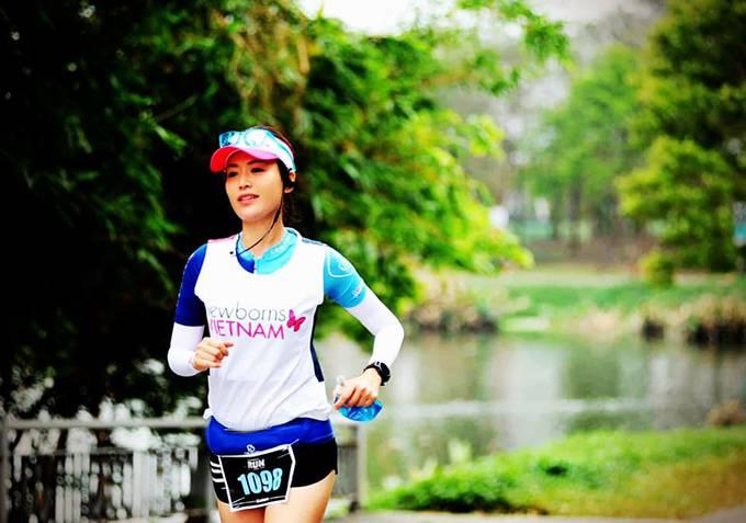 6 tháng nay, Hoa hậu Thu Thủy thường xuyên tham gia các giải chạy marathon.