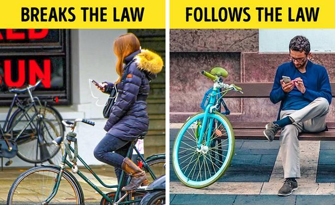Hà Lan Ở Hà Lan, người đi xe đạp không được phép nói chuyện điện thoại. Những du khách đã từng thuê xe đạp sẽ phải dừng nói chuyện điện thoại khi đi xe. Nếu không, họ có thể phải trả tiền phạt 250 đô la. Trước đây ở Hà Lan, việc nói chuyện trong khi lái xe là bất hợp pháp. Kể từ tháng 7 năm 2019, luật tương tự sẽ được áp dụng cho người đi xe đạp. Lý do rất đơn giản: số vụ tai nạn đã tăng lên.