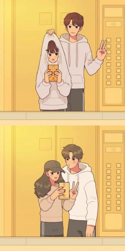 Khi yêu thì lúc nào cũng có thể bày trò cùng nhau được, từ nhà cho đến thang máy