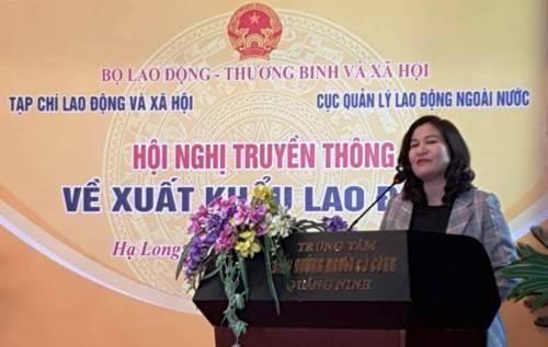 Thứ trưởng Bộ LĐ-TB&XH Nguyễn Thị Hà phát biểu tại hội nghị