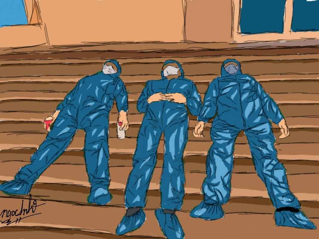 Các y bác sĩ đành ngủ tạm trên nền nhà.